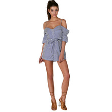 Off-shoulder Striped Button Preppy Backless Romper