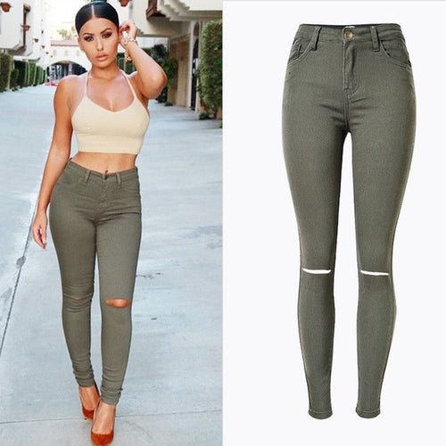 Pop Army Green Ripped Jeans