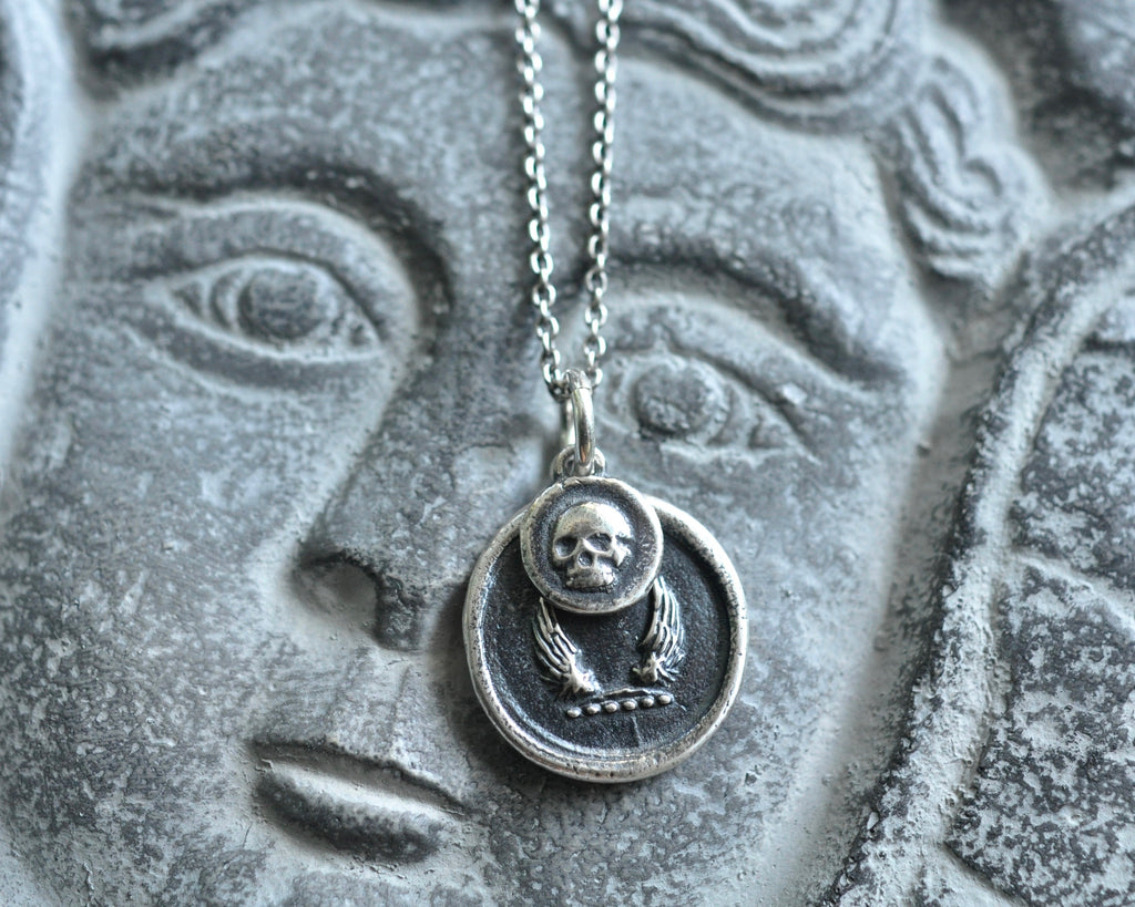 skull and wings wax seal necklace