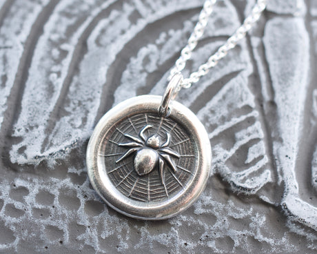 spider wax seal necklace