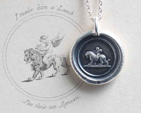 cupid riding lion wax seal necklace