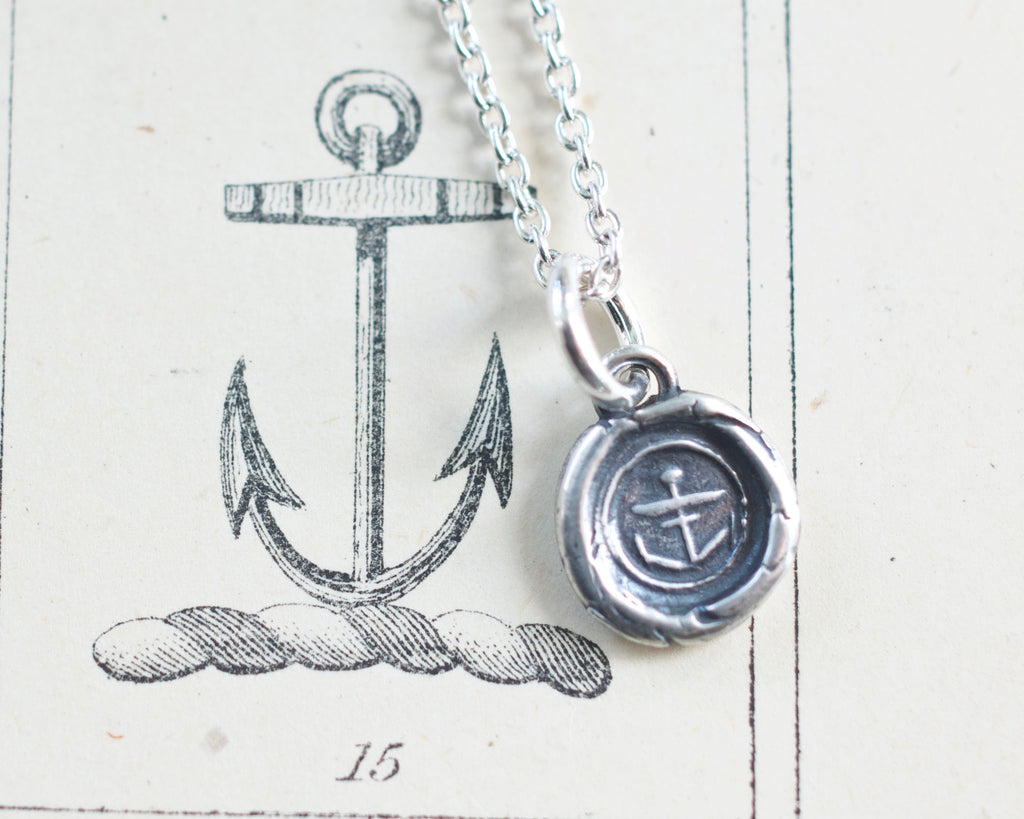 anchor wax seal necklace