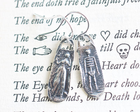 skeleton and widow earrings