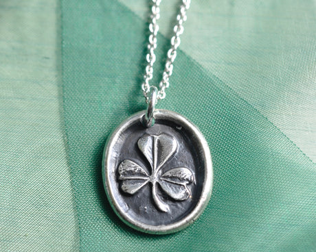 shamrock wax seal necklace