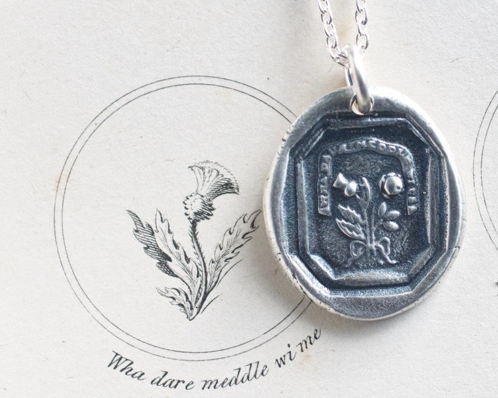 thistle and rose wax seal necklace