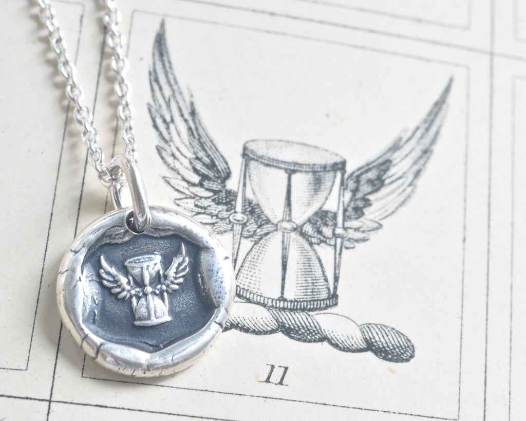 winged hourglass wax seal necklace
