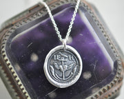 anchor and winged heart wax seal necklace
