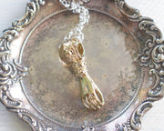 gold victorian hand pendant