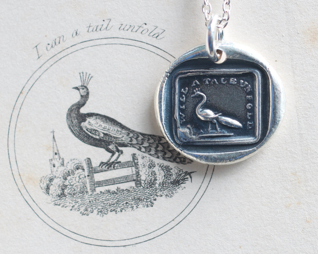 peacock wax seal necklace