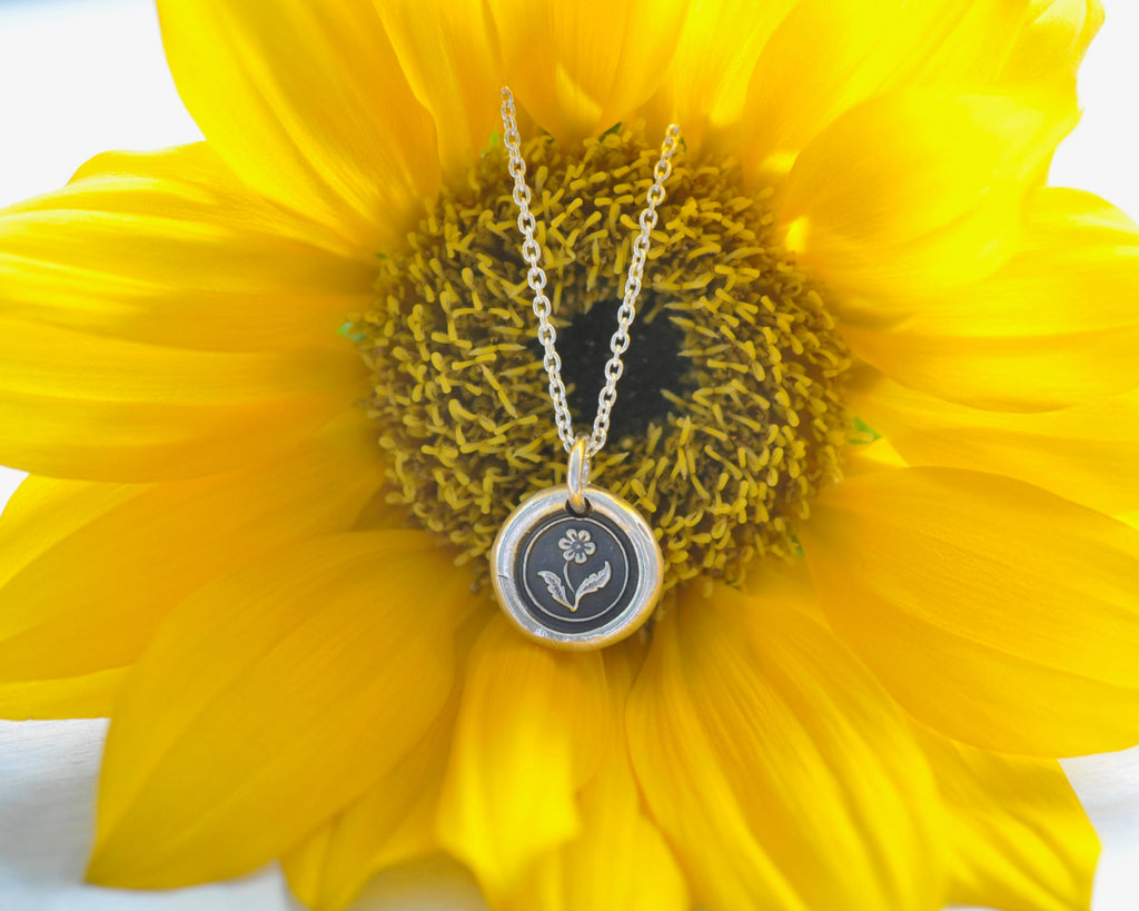 flower wax seal necklace - forget me not flower - wax seal jewelry
