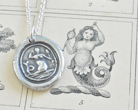mermaid wax seal necklace