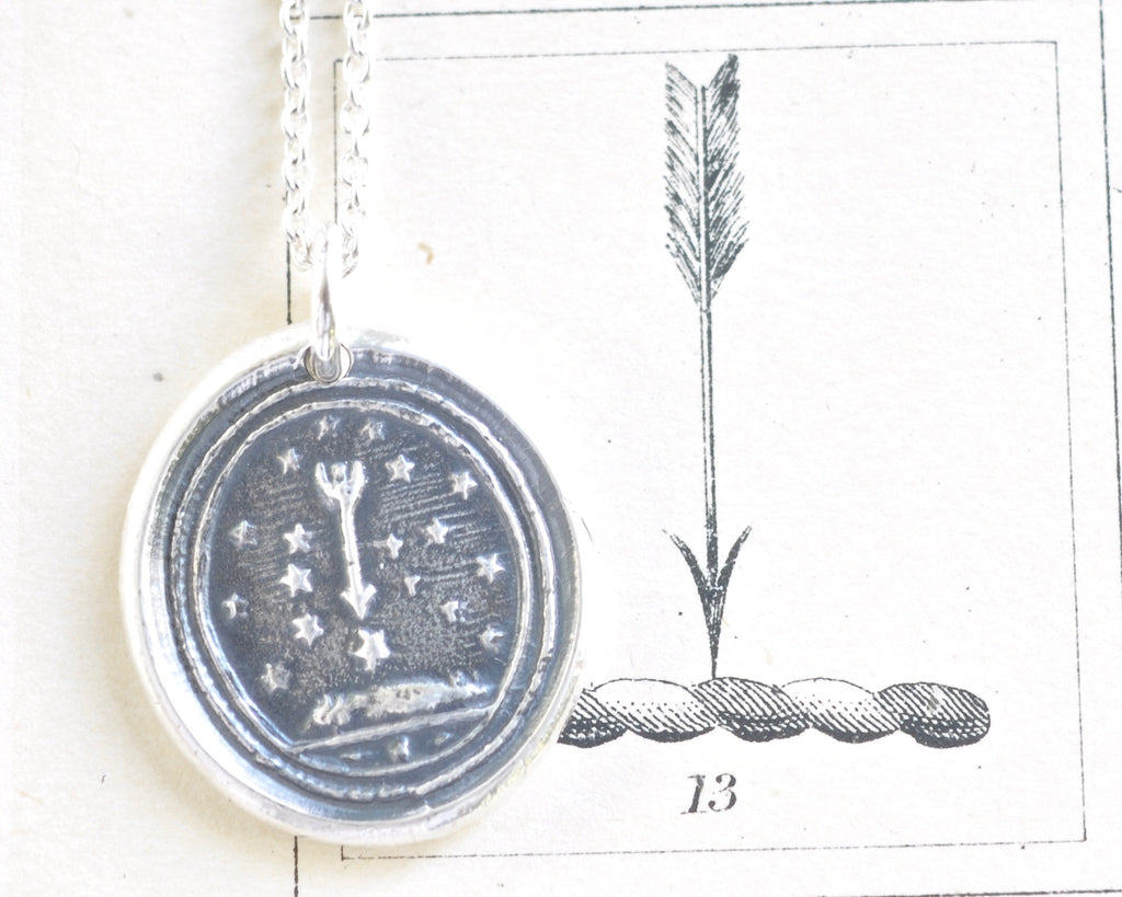 stars and arrow wax seal necklace