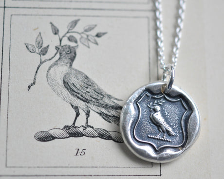 dove wax seal necklace