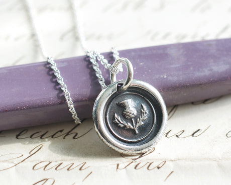scottish thistle wax seal necklace