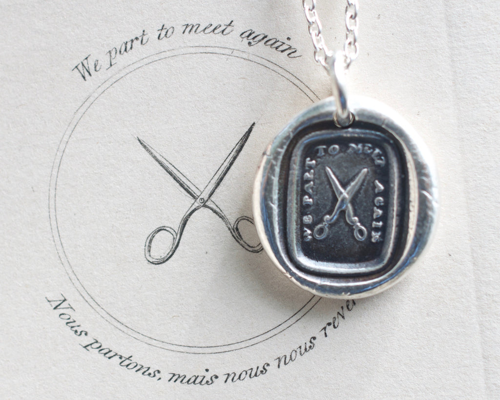 scissors wax seal necklace