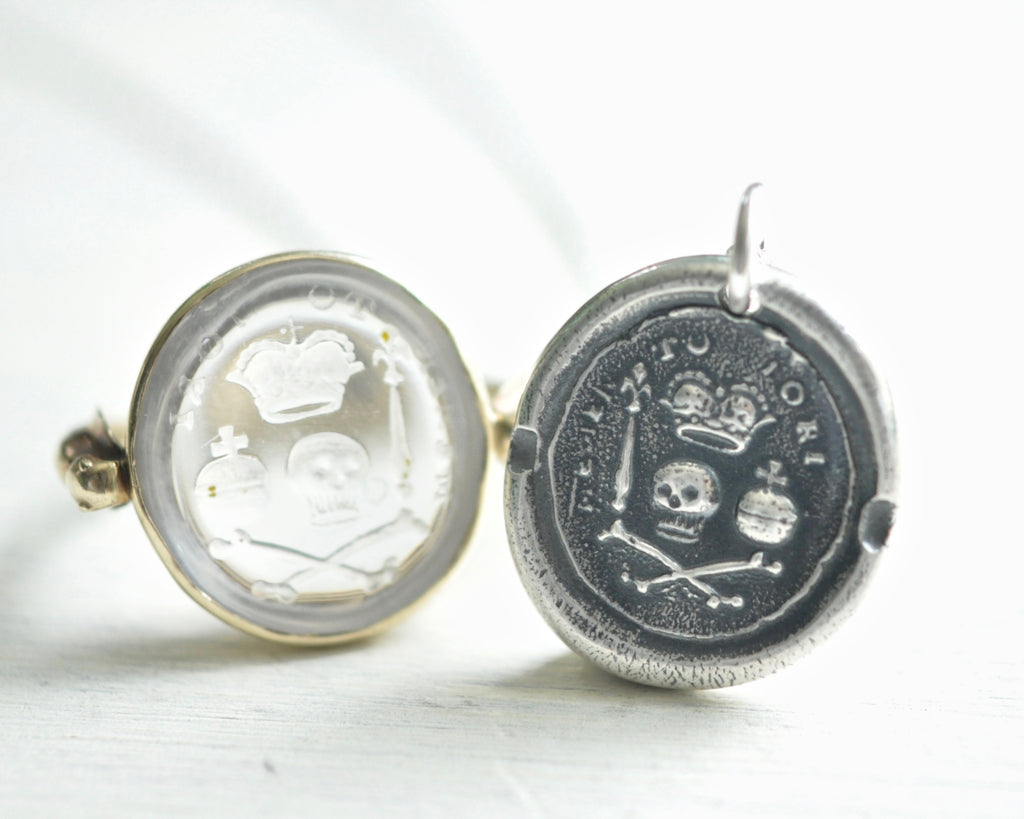 memento mori wax seal necklace