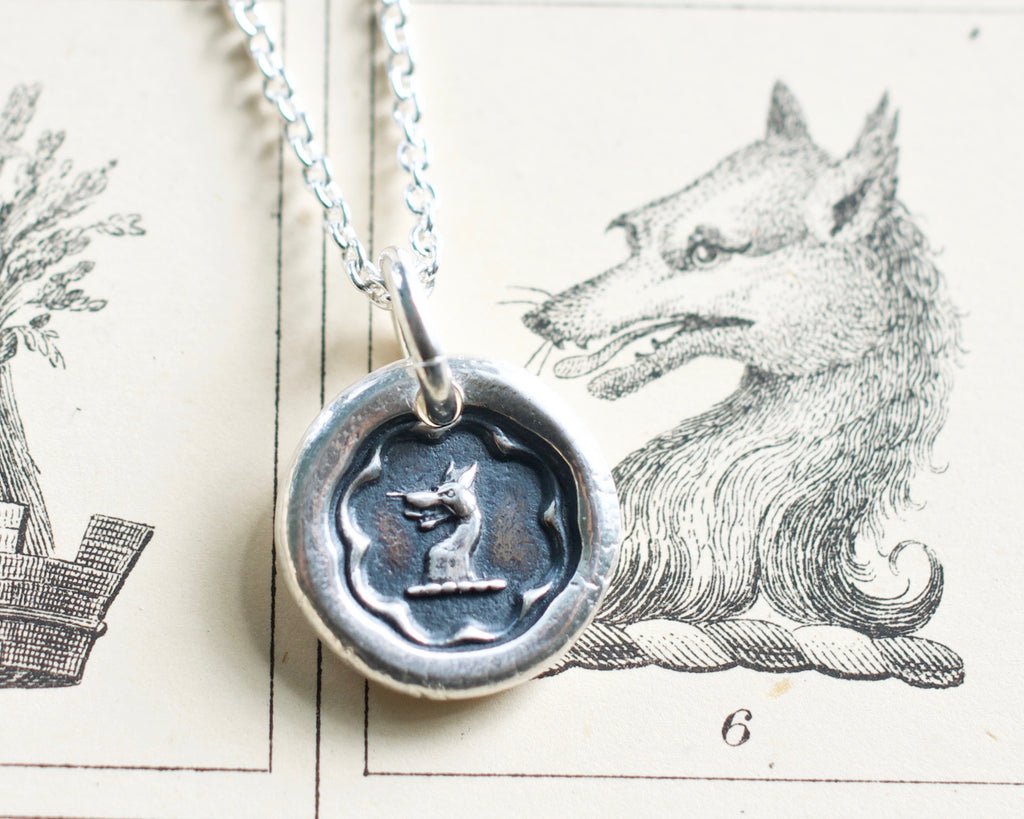 wolf wax seal necklace