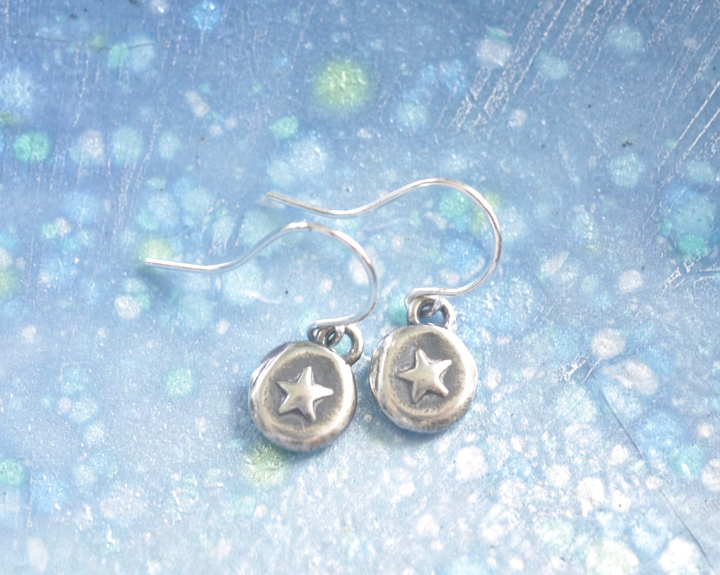 silver star wax seal earrings