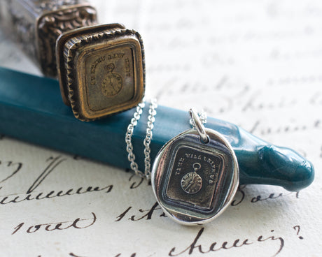pocket watch wax seal necklace