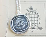 portcullis wax seal necklace