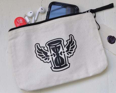 winged hourglass zipper pouch
