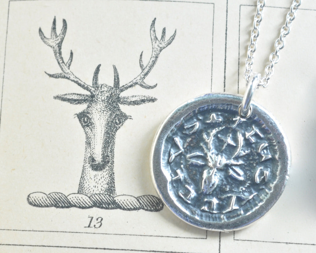 St. Hubertus stag wax seal necklace