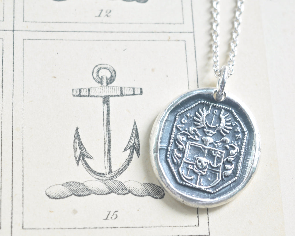 skull and winged anchor family crest wax seal necklace