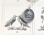 two turtle doves wax seal necklace