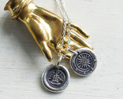 ship and compass wax seal necklace - such is life - wax seal jewelry