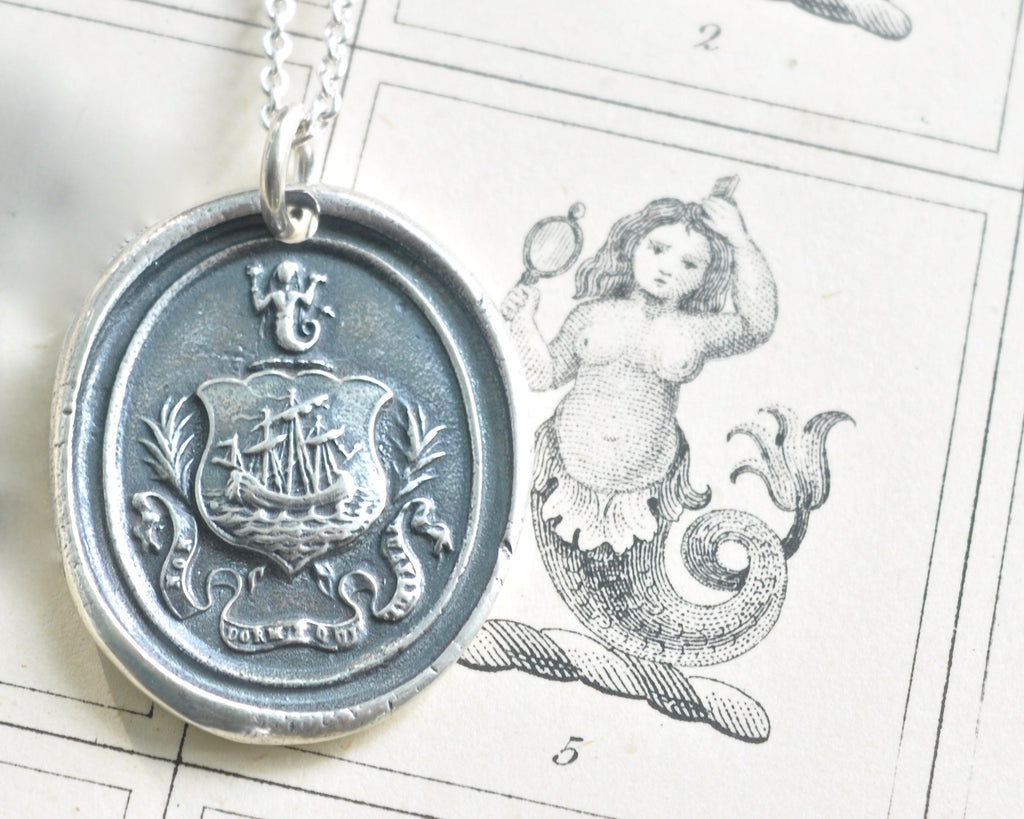 ship and mermaid wax seal necklace