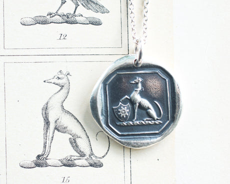 greyhound wax seal necklace