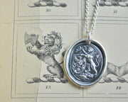 lion wax seal necklace