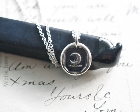 crescent moon wax seal necklace
