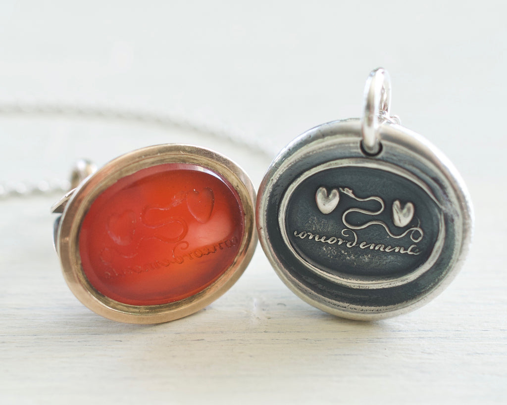two hearts and serpent wax seal necklace