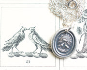 two turtle doves wax seal pendant