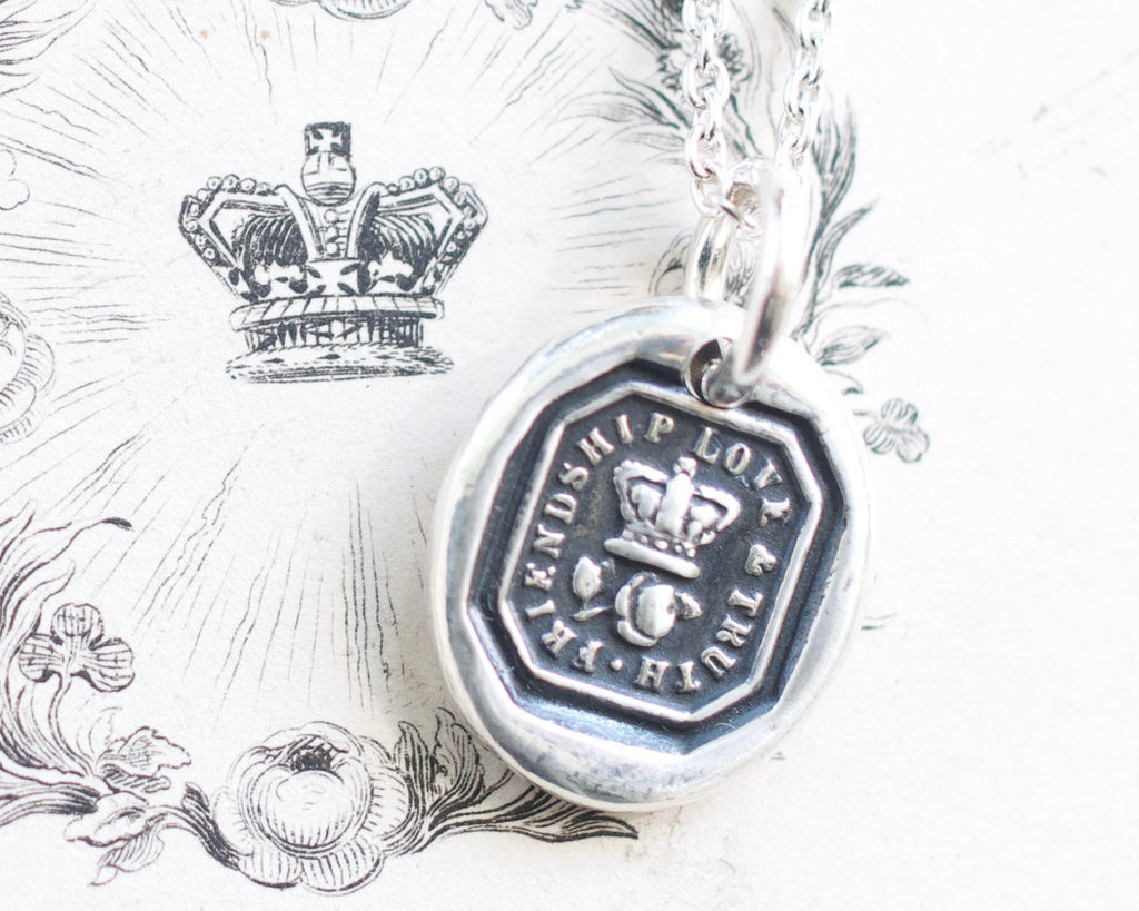 rose and crown wax seal necklace