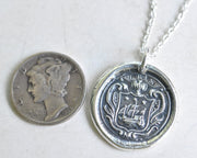 tall ship family crest wax seal necklace - armorial wax seal jewelry