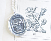 scottish thistle and rose wax seal necklace