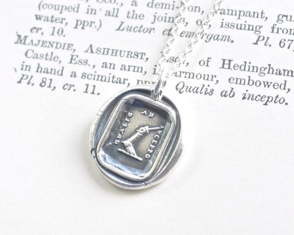 armoured arm wax seal necklace