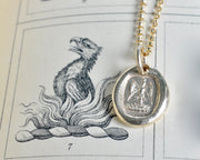 14k gold phoenix wax seal necklace