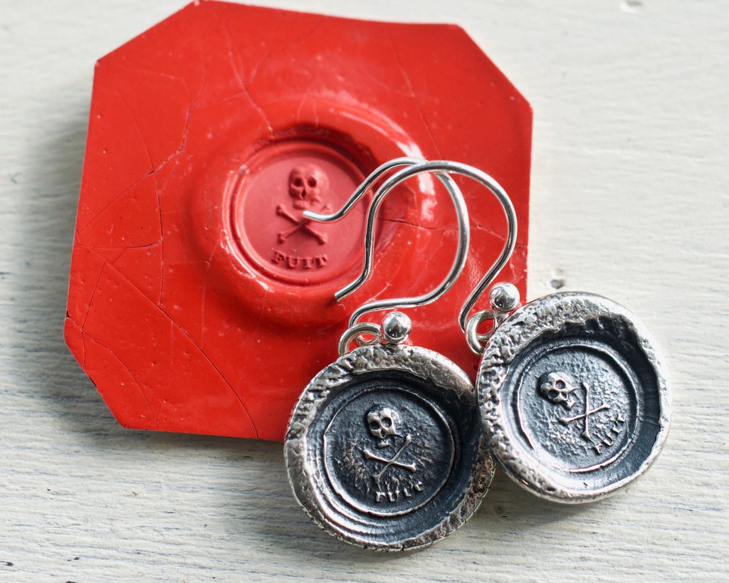 skull and bones wax seal earrings