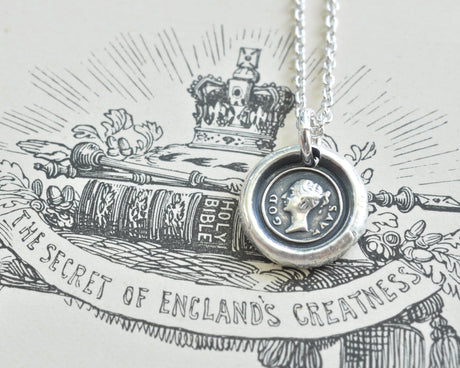 Queen Victoria wax seal necklace
