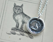 cat wax seal necklace