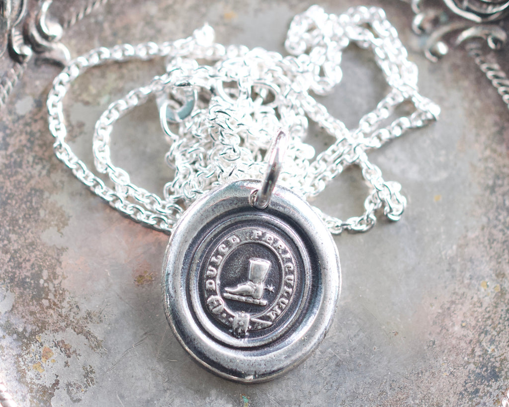 spurred boot wax seal necklace