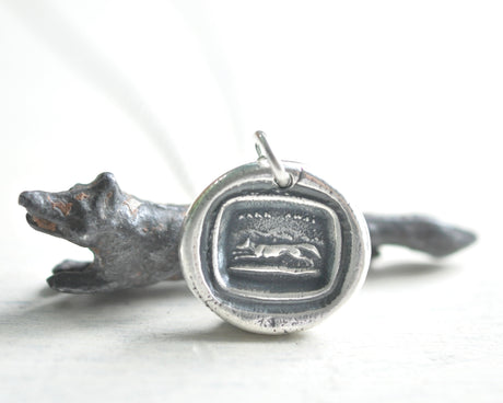 fox wax seal necklace
