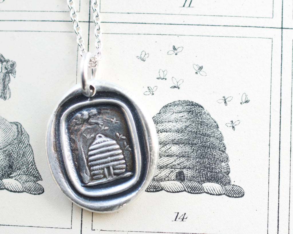 beehive wax seal necklace