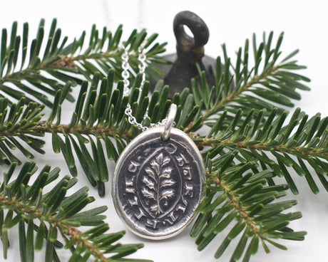 evergreen tree wax seal necklace