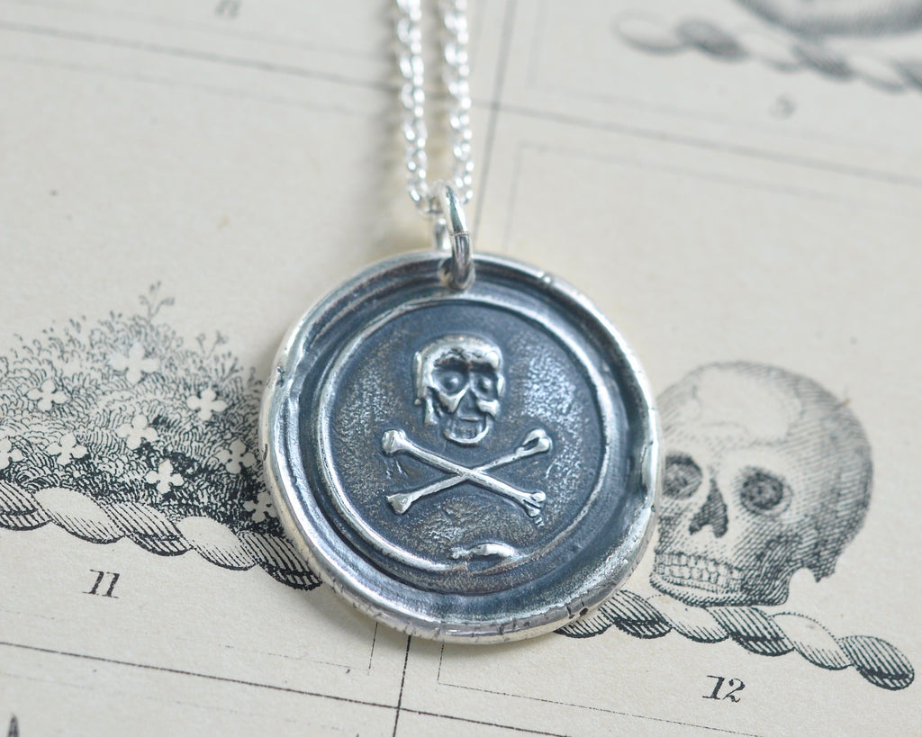 skull and crossbones wax seal necklace