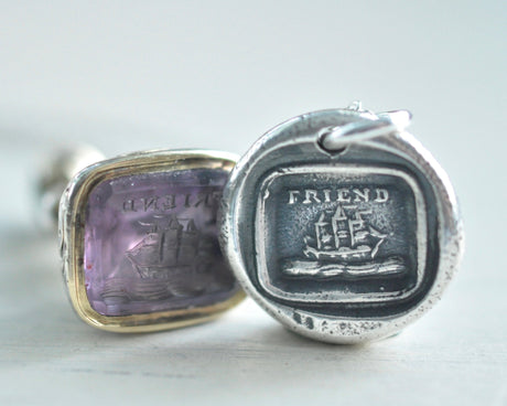 FRIEND ship wax seal necklace