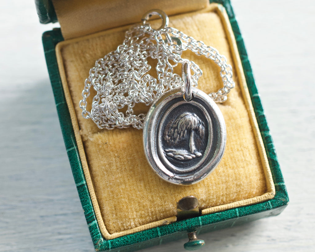 weeping willow tree wax seal necklace